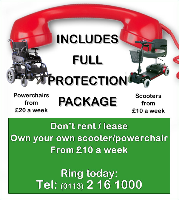 Image of telephone with a powerchair and scooter. Call today. Tel: (0113) 2 16 1000